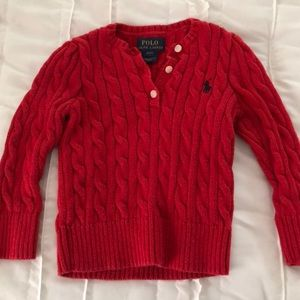 Polo Ralph Lauren Red Cable knit Sweater Size 2T